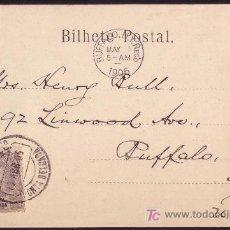 Sellos: AZORES.(CAT.18).1906.T.P.D PONTA DELGADA(ISLAS AZORES) A BUFFALO(EE.UU).20R.LLEGADA.MUY RARO DESTINO. Lote 26768286