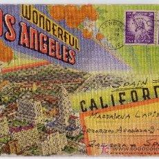 Sellos: EE.UU. (CAT. 581).1956. SOBRE DE PUBLICIDAD TURÍSTICA DE LOS ANGELES CON 9 POSTALES INTERIORES. RR.. Lote 27065103