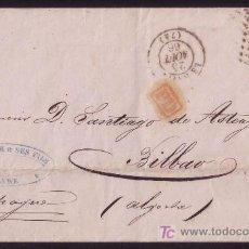 Sellos: FRANCIA.(CAT.23A).1866.CARTA DE LE HAVRE A BILBAO (ESPAÑA). 40 C. MAT. * 1769 *. LLEGADA. MAGNÍFICA.. Lote 24780763