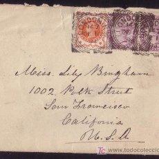 Sellos: REINO UNIDO.(CAT.73(2),91).1894.SOBRE D LONDRES A S.FRANCISCO (EE.UU). FRANQUEO MIXTO DOS EMISIONES.. Lote 26768047