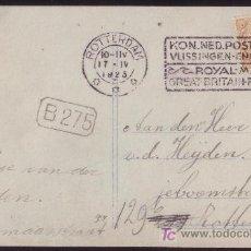 Sellos: HOLANDA.(CAT.68).1923.T.P. A ROTTERDAM. 2 C. MAT. RODILLO DE LA *ROYAL MAIL* INGLESA. RARA Y DE LUJO. Lote 26768248