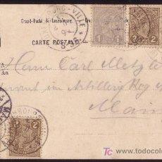 Sellos: LUXEMBURGO.(CAT.69(2),70(2),71).1899.T.P. DE LUXEMBURGO A MAINZ (ALEMANIA). 5 SELLOS. RARO FRANQUEO.. Lote 25965824