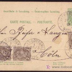 Sellos: LUXEMBURGO.(CAT. 70 (3)+E.P.).1897.ENTERO POSTAL DE LUXEMBURGO A CÖLN.FRANQUEO COMPLEMENTARIO.RARO.. Lote 25965788