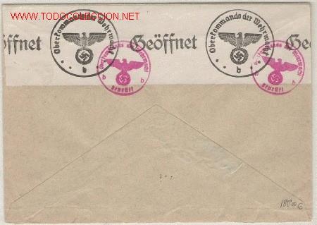 II GUERRA MUNDIAL RARISIMA CARTA ALEMANA DEL CUARTEL GENERAL EN SUIZA CENSURA (Sellos - Historia Postal - Sellos otros paises)
