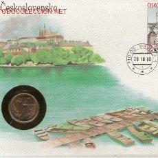 Francobolli: PRECIOSO SOBRE DE CHEKOSLOVAKIA CON MEDALLA CONMEMORATIVA . Lote 2272842