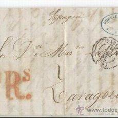 Sellos: CARTA CIRCULADA DE PARIS A ZARAGOZA. 19-05-1852. SIN SELLO. 2RS.DOUBLE FRERES.PARIS.FRANCIA.. Lote 11733973