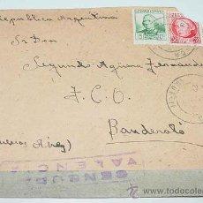 Sellos: ANTIGUO SOBRE CIRCULADA EN EL AÑO 1938 CON SELLO DE LA CENSURA MILITAR VALENCIA - PLENA GUERRA CIVIL. Lote 12303501