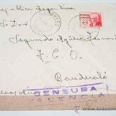 Sellos: ANTIGUO SOBRE CIRCULADA EN EL AÑO 1938 CON SELLO DE LA CENSURA MILITAR VALENCIA - PLENA GUERRA CIVIL. Lote 12303511