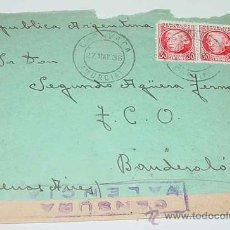 Sellos: ANTIGUO SOBRE CIRCULADO EN PLENA GUERRA CIVIL EN 1938 - CON SELLO DE LA CENSURA MILITAR VALENCIA - S. Lote 12303755