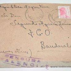 Sellos: ANTIGUO SOBRE CIRCULADO EN PLENA GUERRA CIVIL EN 1938 - CON SELLO DE LA CENSURA MILITAR VALENCIA - S. Lote 12303795