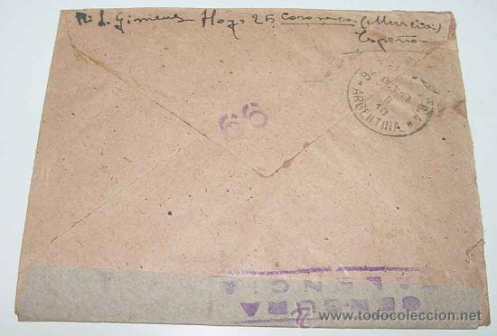 Sellos: ANTIGUO SOBRE CIRCULADO EN PLENA GUERRA CIVIL EN 1938 - CON SELLO DE LA CENSURA MILITAR VALENCIA - S - Foto 2 - 12303795