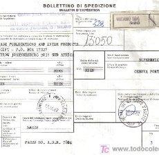 Sellos: ITALIA BOLETÍN EXPEDICIÓN PAQUETE POSTAL 1982 A SUDÁFRICA CASTILLO ARQUITECTURA. Lote 12724034