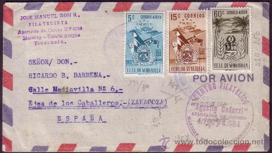 VENEZUELA. 1952. SOBRE DE MARACAY A ESPAÑA. 5, 15 Y 60 C. CORREO AÉREO. TRÁNSITO CARACAS. MUY BONITO (Sellos - Historia Postal - Sellos otros paises)