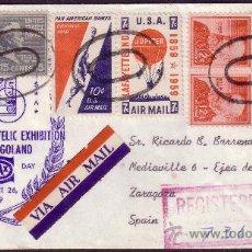 Sellos: EE.UU. 1959. SOBRE CORREO AÉREO CERTIFICADO. DORSO FECHADORES DE SALIDA. MUY BONITO FRANQUEO.. Lote 26720418