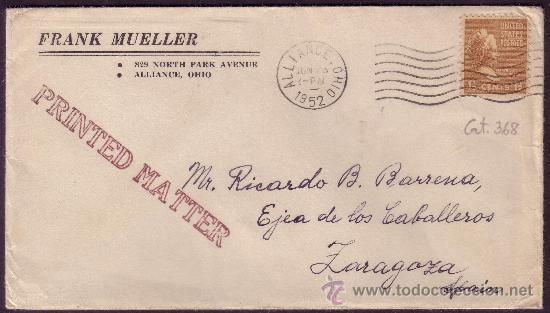 EE.UU. (CAT.368).1952. SOBRE DE ALLIANDE (OHIO) A ESPAÑA. 1 1/2 C. MAT. FECHADOR RODILLO. MAGNÍFICO. (Sellos - Historia Postal - Sellos otros paises)