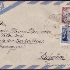 Sellos: ARGENTINA. 1956. SOBRE DE VILLA LYNCH A ESPAÑA. 40 C. Y 2 P. LLEGADA DORSO. MAGNÍFICO.. Lote 24064129