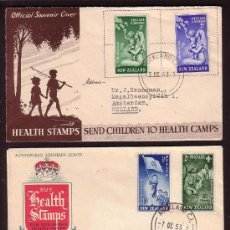 Sellos: AÑOS 1949 - 1953 * NEW ZEALAND * DOS SOBRES HEALTH STAMP COVERS CHILDREN HEALTH CAMPS AYUDA INFANTIL. Lote 24182710