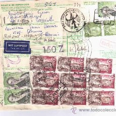 Sellos: MARBELLA MALAGA BOLETIN DE PAQUETE POSTAL A ALEMANIA SELLOS ALTO FACIAL ESPRONCESA FERNAN GONZALEZ M. Lote 23927665