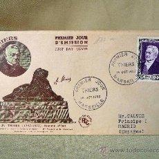 Sellos: SOBRE PRIMER DIA, PREMIER JOUR D' EMISSION, 1952, THIERS, MARSEILLE. Lote 25404302