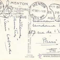 Sellos: FRANCIA, FESTIVAL DE LA MÚSICA, BIENAL DE ARTE DE MENTON, MATASELLO DE 17-9-1951. Lote 27669423