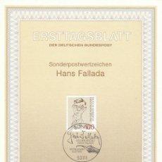 Sellos: ALEMANIA IVERT 1514, HANS FALLADA (ESCRITOR), PRIMER DIA DE 17-7-1993. Lote 30899029
