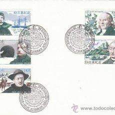Sellos: SUECIA IVERT 789/93, EXPLORADORES (THUNBERG, SPARRMAN, HEDIN...), PRIMER DIA DE 22-9-1973. Lote 30925819