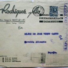 Sellos: SOBRE CENSURA MILITAR REPÚBLICA ESPAÑOLA AÑO 1937 - DE MONTEVIDEO (URUGUAY) A NOVELDA (ALICANTE). Lote 32217816