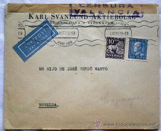 SOBRE CENSURA MILITAR VALENCIA - AÑO 1937 - CIRCULADO DE ESTOCOLMO (SUECIA) A NOVELDA (ALICANTE) (Sellos - Historia Postal - Sellos otros paises)