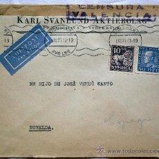 Sellos: SOBRE CENSURA MILITAR VALENCIA - AÑO 1937 - CIRCULADO DE ESTOCOLMO (SUECIA) A NOVELDA (ALICANTE). Lote 32217898