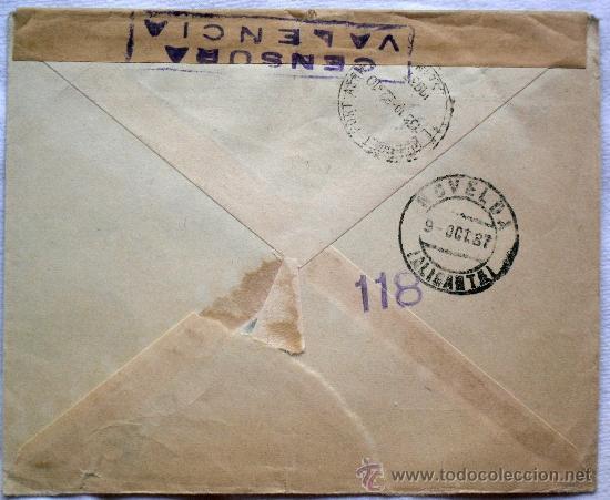 Sellos: SOBRE CENSURA MILITAR VALENCIA - AÑO 1937 - CIRCULADO DE ESTOCOLMO (SUECIA) A NOVELDA (ALICANTE) - Foto 2 - 32217898