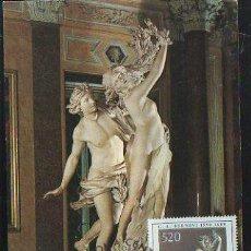 Sellos: LORENZO BERNINI, APOLO E DAFNE. 1981 - ITALIA. MATASELLOS EN LA TARJETA. Lote 32696010