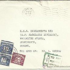 Timbres: INGLATERRA CC CON MAT POPLAR TASADA POSTED UNPAID 1968 . Lote 34375284