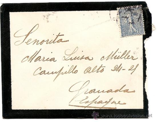 FRANCIA-CARTA CIRCULADA DE PARIS A GRANADA 1908 (Sellos - Historia Postal - Sellos otros paises)