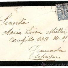 Sellos: FRANCIA-CARTA CIRCULADA DE PARIS A GRANADA 1908. Lote 34578790