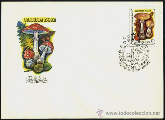 SOBRE PRIMER DIA URSS - MICOLOGIA 1986 (Sellos - Historia Postal - Sellos otros paises)