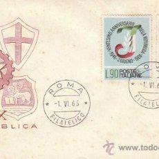 Sellos: ITALIA IVERT 950/1, 20 ANIVERSARIO DE LA REPUBLICA, PRIMER DIA DE 1-6-1966. Lote 36048947