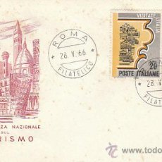 Sellos: ITALIA IVERT 952, CONFERENCIA NACIONAL SOBRE EL TURISMO, PRIMER DIA DE 28-5-1966. Lote 36048991