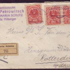Sellos: AUSTRIA.(CAT.223).1921.SOBRE CERTIFICADO DE MARIA SCHUTZ A ROTTERDAM (HOLANDA). 15 SELLOS. MUY RARA.. Lote 24565207