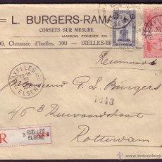 Sellos: BÉLGICA. 1920. SOBRE CERTIFICADO DE IXELLES A ROTTERDAM (HOLANDA).DOS 10 C. Y 25 C.LACRES DORSO.RARA. Lote 26147658