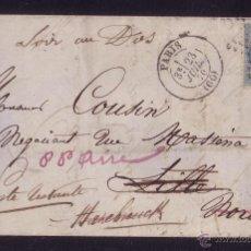 Sellos: FRANCIA.(CAT.29-II).1870.CARTA DE PARÍS A LILLE.20 C. *POSTE RESTANTE* (LISTA DE CORREOS). RARÍSIMA.. Lote 24042685