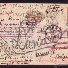 Sellos: REINO UNIDO. (CAT.107).1909.T. P. DE BRIXTON-HILL A BRUSELAS.VARIAS REEXPEDICIONES.MARCAS DEVOLUCIÓN. Lote 26541161