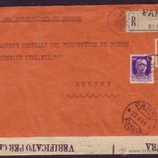 Sellos: ITALIA.(CAT.232(2),235).1941.SOBRE CERT. DE PANNI A GINEBRA (SUIZA).*CORREO DE PRISIONERO DE GUERRA*. Lote 27091672