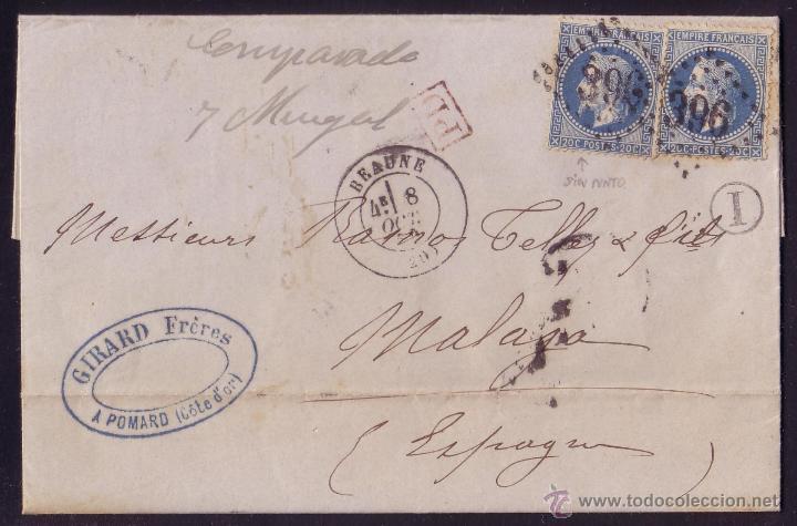 FRANCIA.(CAT.29-II).1869.CARTA DE POMARD A MÁLAGA.20 C.MARCA *I* DÉCIMA DE LOS BUZONES RURALES.RARA. (Sellos - Historia Postal - Sellos otros paises)