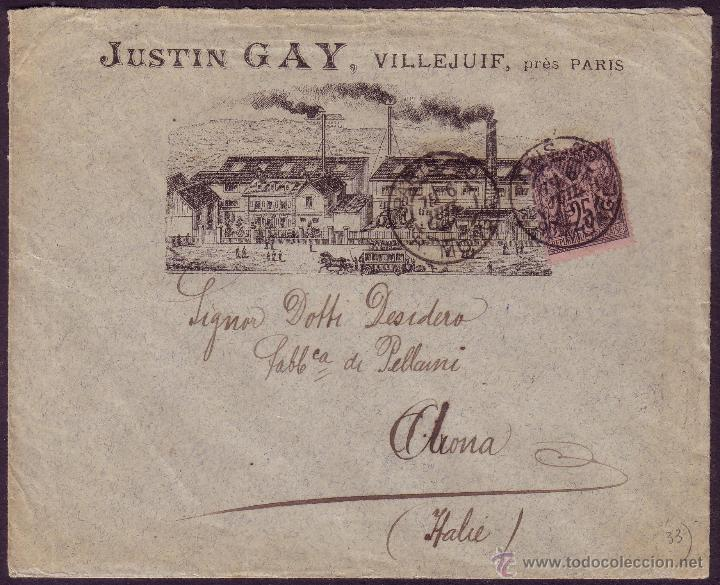 FRANCIA. (CAT. 97). 1891. SOBRE PUBLICIDAD FÁBRICA DE PARÍS A ITALIA. MAGNÍFICO Y MUY RARO. (Sellos - Historia Postal - Sellos otros paises)