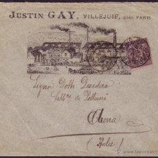 Sellos: FRANCIA. (CAT. 97). 1891. SOBRE PUBLICIDAD FÁBRICA DE PARÍS A ITALIA. MAGNÍFICO Y MUY RARO.. Lote 25879152