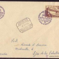 Sellos: PORTUGAL.(CAT.766).1954.SOBRE DE LISBOA A ZARAGOZA (ESPAÑA).MAT.5º ANIVERº DE LA OTAN/NATO.MAGNÍFICA. Lote 26997090