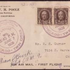 Sellos: EE.UU.(CAT.186,256).1926.SOBRE CORREO AÉREO D LOS ANGELES A CHICAGO.VUELO INAUGURAL.FIRMA DEL PILOTO. Lote 24891555
