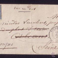 Sellos: FRANCIA.(CAT. 29-II).1868. SOBRE DE VIERZON A ORLEANS Y REEXPEDIDA A ETAMPES. 20 C.MAGNÍFICA Y RARA.. Lote 25083779