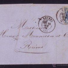 Sellos: FRANCIA. (CAT. 60-III).1876. CARTA DE RETHEL A REIMS. 25 CTS. MAT. FECHADOR *RETHEL/(7)*. MAGNÍFICA.. Lote 27142649