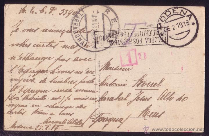 ITALIA. 1919. T. P. DE MÓDENA A REUS (TARRAGONA).SIN SELLOS.DIVERSAS MARCAS.TASADA.MAGNÍFICA Y RARA. (Sellos - Historia Postal - Sellos otros paises)
